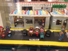Gingerbread house, scene of NY subway platform