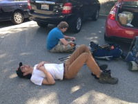 Lying in the parking lot - after challenging 12 miles.